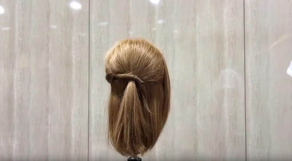 ロブ(ロングボブ)簡単まとめ髪「ねじりハーフアップ ロブ編」|CARE AOYAMA 渡辺義明